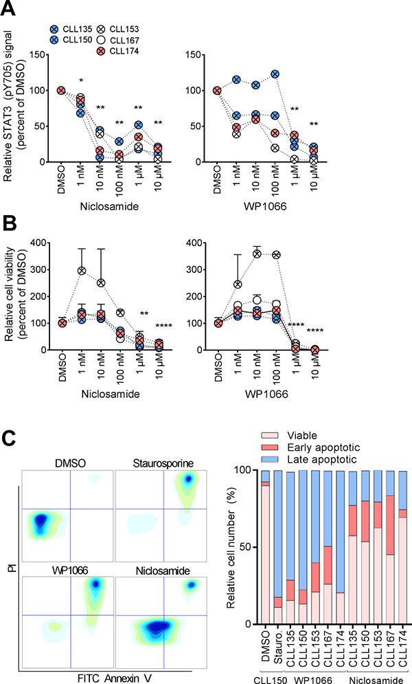 STAT3 inhibitors normalize aberrant CLL signaling.