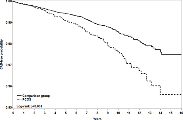 Kaplan-Meier method measured probability free from coronary artery disease in women with (dashed line) and without (solid line) polycystic ovary syndrome.