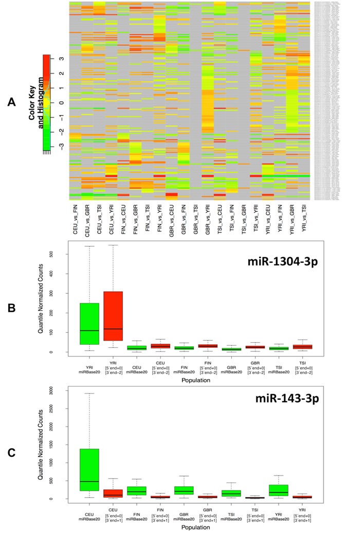Figure 2 : Differential expression of isomiRs across populations.