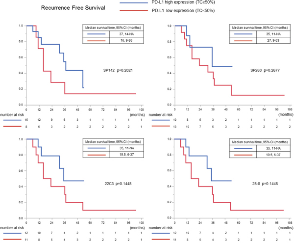 The recurrence-free survival curves in squamous cell carcinoma cases in which complete resection was performed according to the PD-L1 expression (using a cutoff value of 50%).