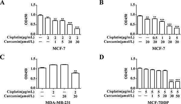 Curcumin's effect on breast cancer cell sensitivity to cisplatin.