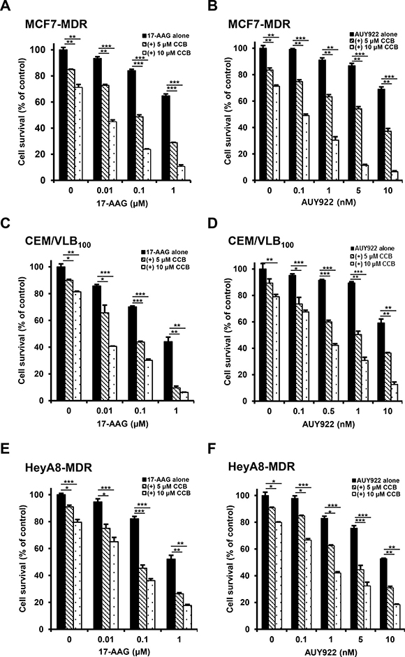 Potentiation of Hsp90 inhibitor-induced cytotoxicity by celecoxib (CCB) in MDR cells.