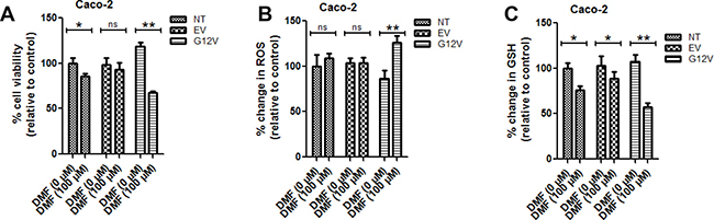 KRAS*G12V mutant cells are sensitive to DMF treatment.