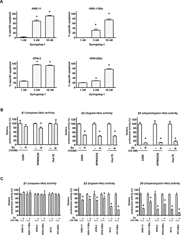 Induction of apoptosis and alteration of proteasome activities in multiple myeloma cells treated with syringolog-1.