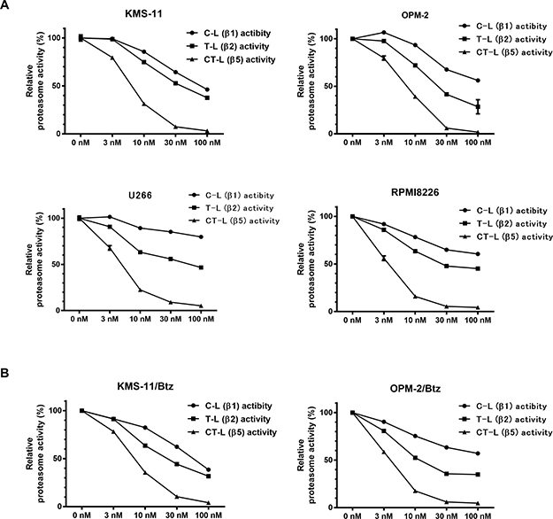 Alteration of proteasome activities in multiple myeloma cells treated with various concentration of syringolog-1.