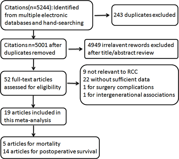 Flowchart of selection of studies for inclusion in this meta–analysis.