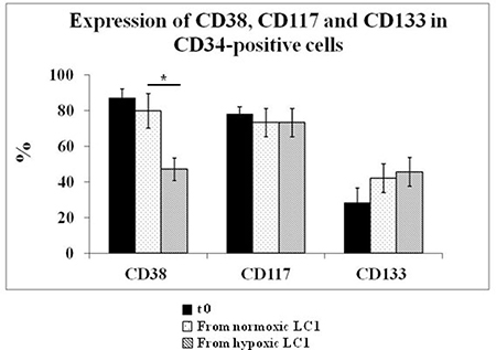 Effects of incubation in hypoxia or normoxia on the expression of CD38, CD117, CD133 in CD34-positive cells.