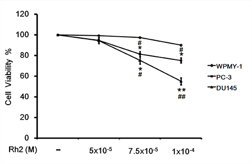 Cell viability assay showing the inhibitory effect of Rh2 on DU145 cell viability.