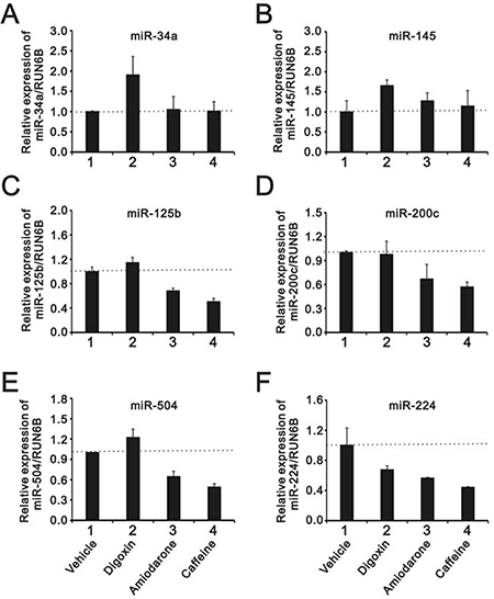 The comparison of the effects of caffeine, amiodarone, and digoxin on the miRs regulation in HeLa cell.