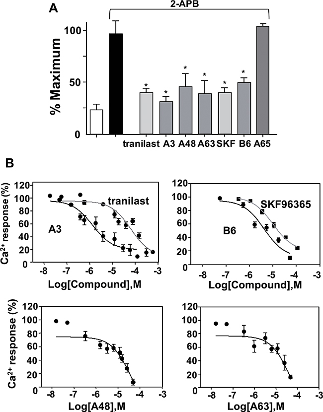 Effects of inhibitor compounds on 2-APB-induced Ca2+ increase in HEK293 cells expressing mTRPV2.