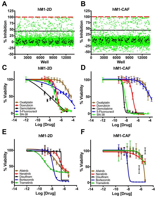 High throughput therapeutic screen of hM1 cells identifies high efficacy targeted inhibitors.