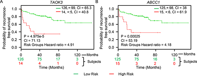 TAOK3 and ABCC1 expression predicts recurrence-free survival in AIPC patients.
