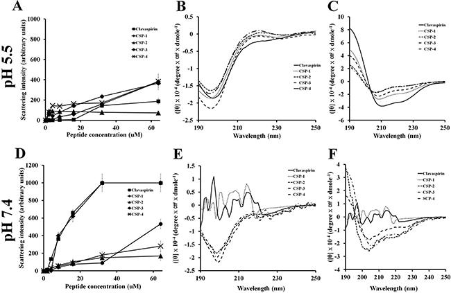 Aggregation of clavaspirin and its analogue peptides at pH 5.5 and pH 7.4.