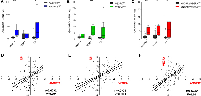 Ang-2 and VEGFA expression associate with increased IL-8 expression.