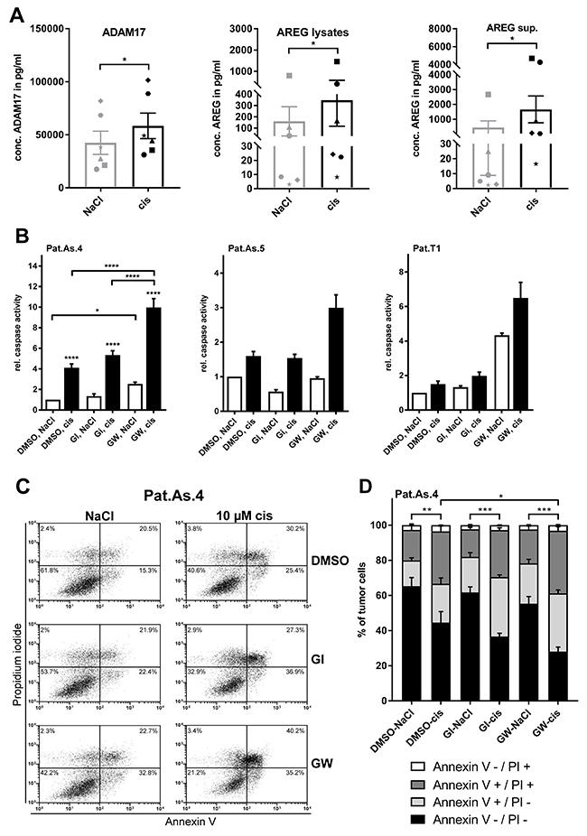 Blockage of ADAM17 effectively sensitizes patient-derived ovarian cancer cells to cisplatin.