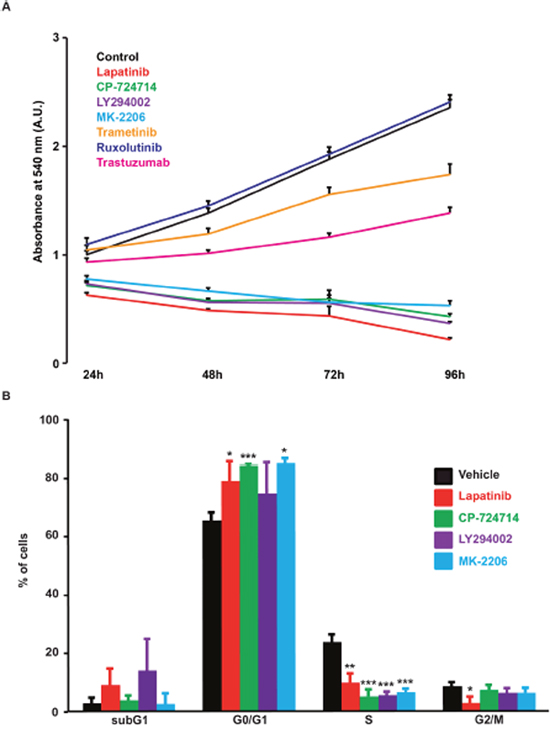Effects of various kinase inhibitors on SK-BR-3 cells proliferation.