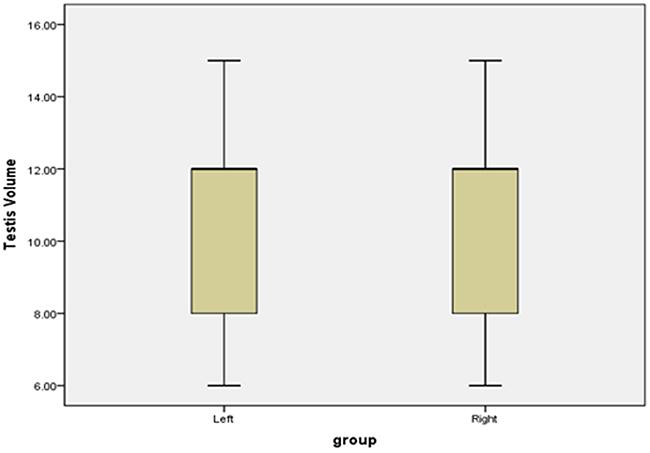 Boxplots of bilateral testicular volume.