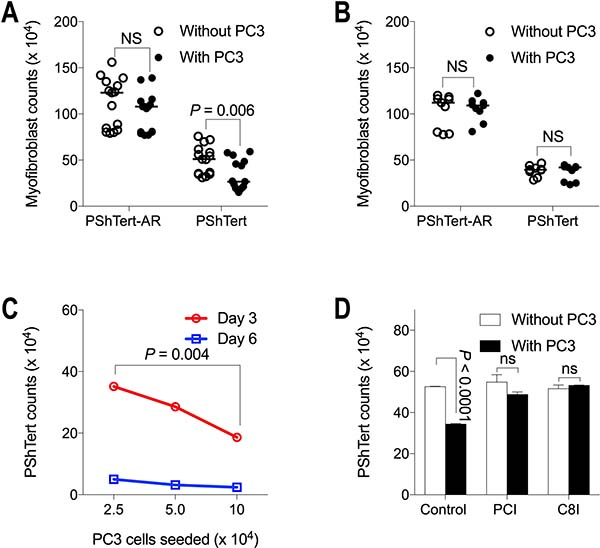 Myofibroblast counts in co-culture with PC3 cells.