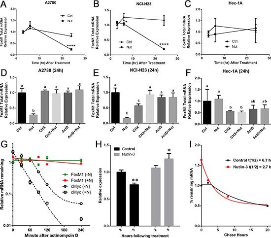 FoxM1 mRNA is downregulated by Nutlin-3 in TP53 wild type cells but not in TP53 mutant cells.