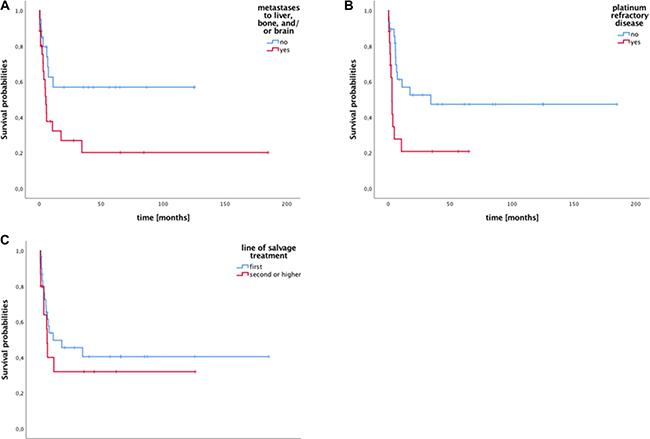 Survival of patients with metastatic germ cell tumors stratified by existence of metastases to liver, brain and/or bone (LBB), platinum refractory disease, and transplantation in first vs. further relapse.