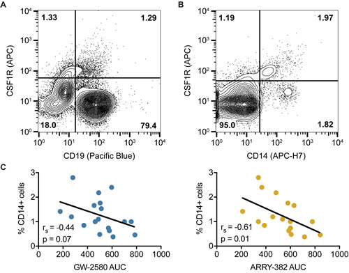 CSF1R is not found on CD19+ CLL cells but instead expressed on a CD14+ myeloid subpopulation.