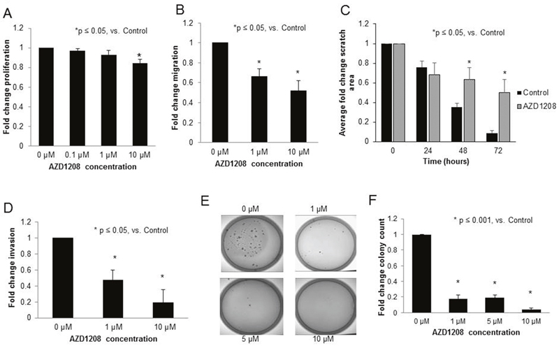 PIM kinase inhibition with AZD1208 decreased proliferation, migration, invasion, and attachment-independent growth in HuH6 hepatoblastoma cells.