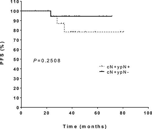 Progression-free survival in patients with initial clinically lymph node involvement (cN+) who received primary chemotherapy and who either had a complete remission lymph node status (ypN-) or maintained lymph node involvement (ypN+).