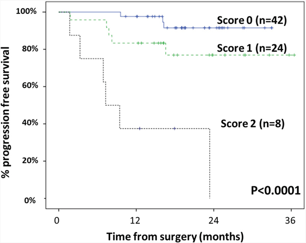 Progression-free survival (PFS) of sCRC patients stratified by the prognostic score proposed in the present study.