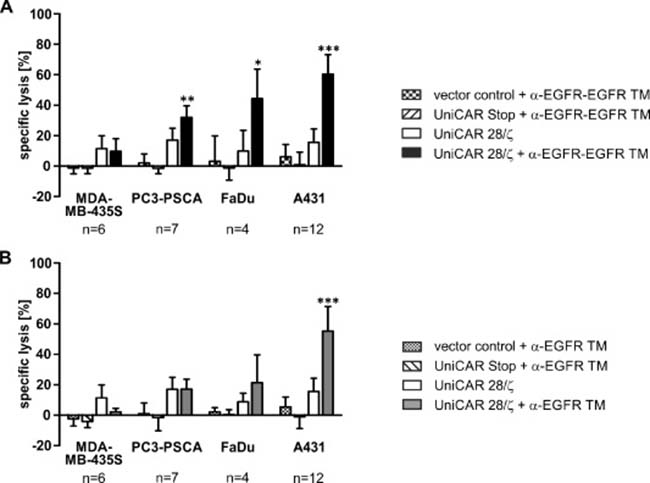 Retargeting of UniCAR-armed T cells against EGFR-positive tumor cell lines via EGFR-specific TMs.