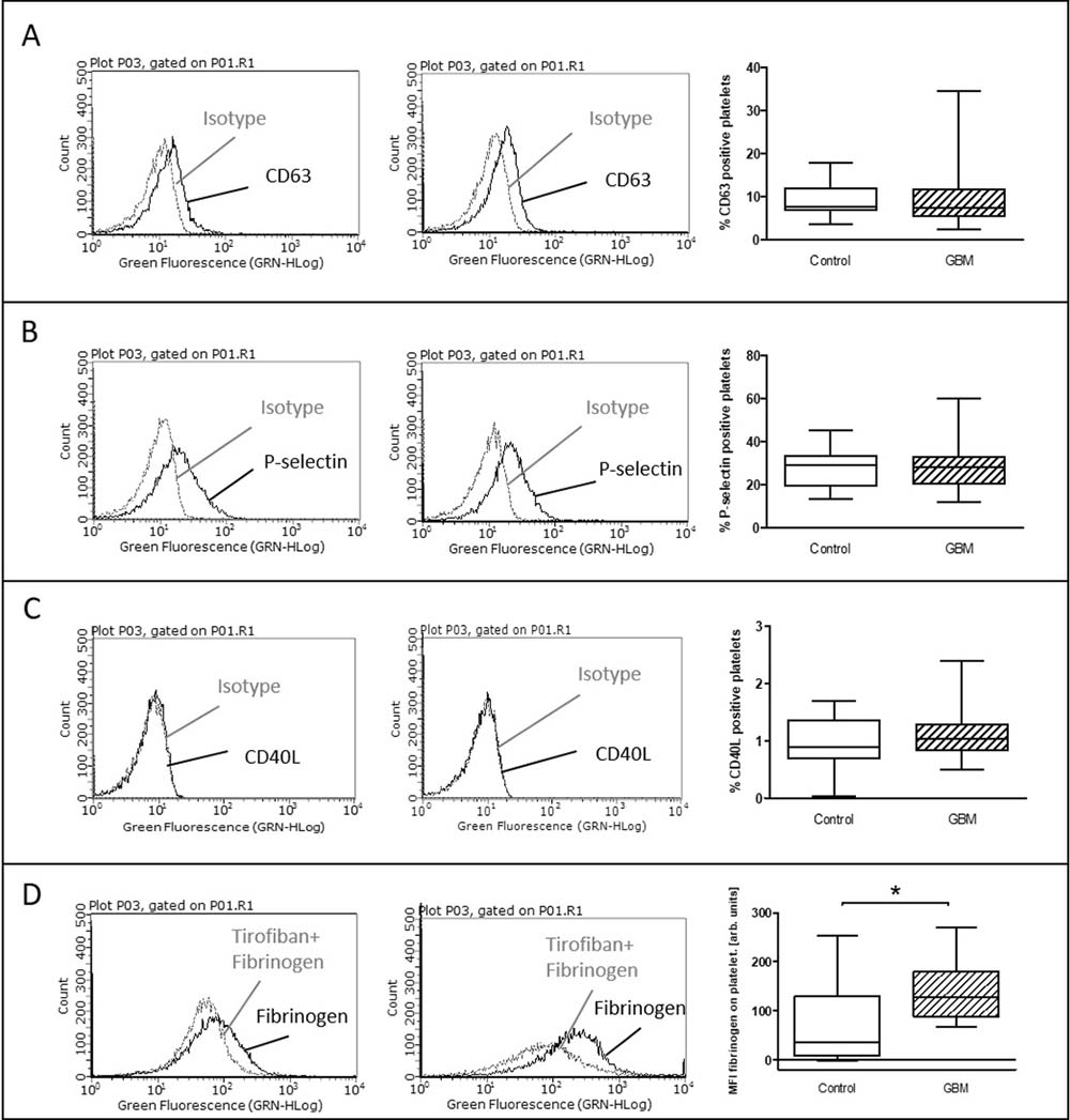Ex vivo stimulation with ADP in glioblastoma patients and control individuals.