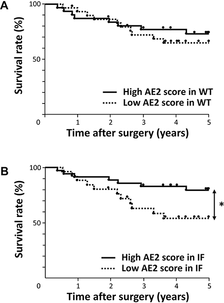 Survival curve of patients after curative resection for ESCC according to the expression of AE2.