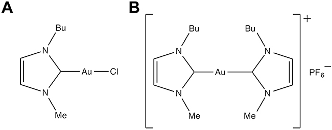 Chemical structure of gold(I)-N-heterocyclic carbene complexes.