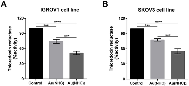 Inhibition of TrxR by carbenes in IGROV1 and SKOV3 cells.