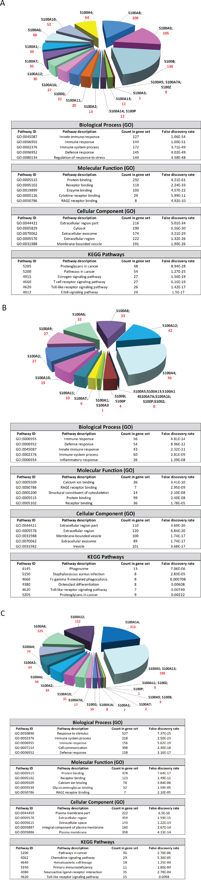 S100-associated genes analyzed with STRING (A), GOBO (B) and ONCOMINE (C) databases.