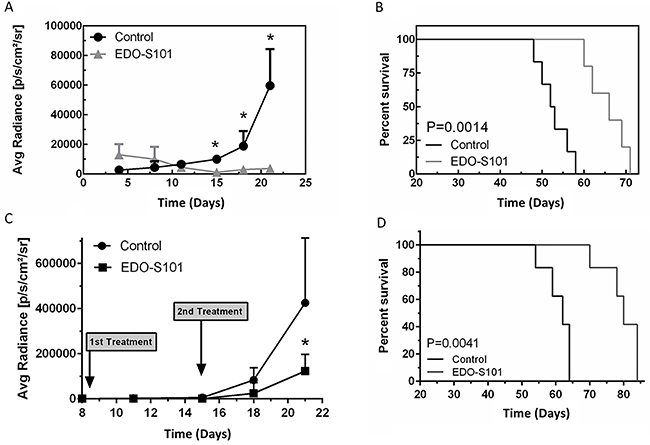 EDO-S101 has significant therapeutic activity against glioblastoma multiforme.