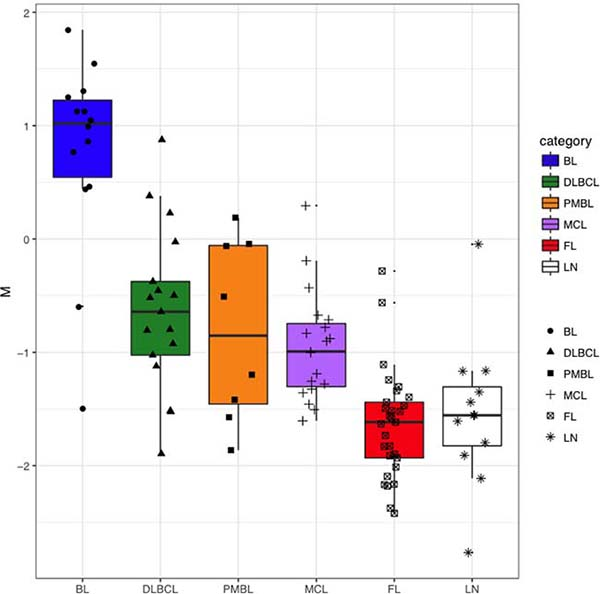 Distribution of M parameter in BL, DLBCL, PMBL, MCL, FL and LN.