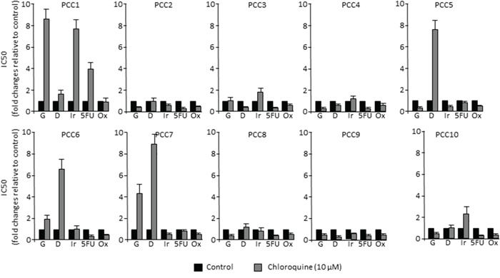 PDAC-derived cells response to chemotherapy in vitro.