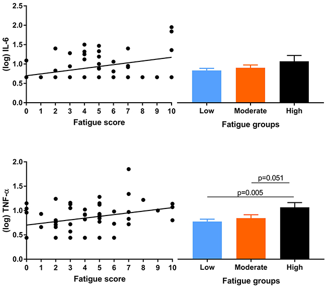 Scatterplots for associations of fatigue with IL-6 and TNF-α (left panels) and mean (log transformed) cytokine concentrations per fatigue group (right panels).