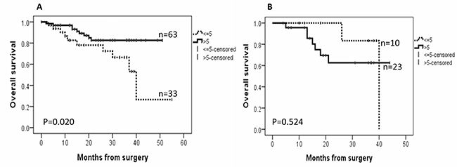 Kaplan–Meier survival curves for the correlation between the immunoexpression of AGR2 and overall survival.