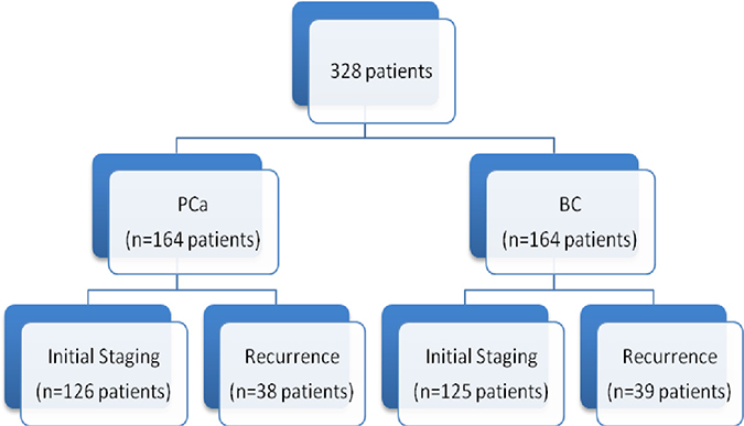 Patients distribution examined by PBS and SPECT/CT.
