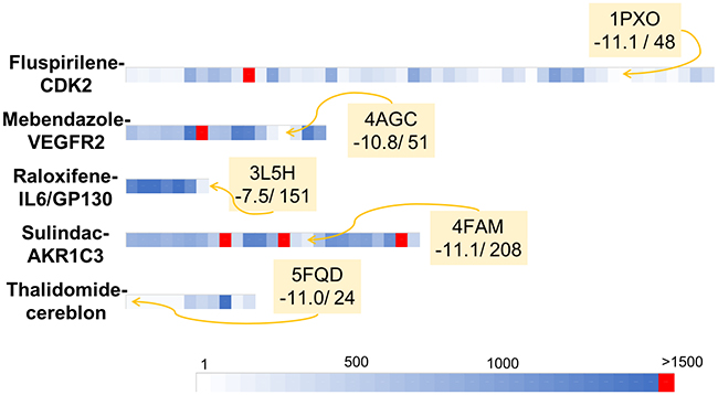 Graphical representation of the retrospective virtual screening results for each example of repositioned drug - oncogenic target system: fluspirilene - CDK2, mebendazole – VEGFR2, raloxifene – IL6/GP130, sulindac – AKR1C3 and thalidomide – cereblon (each system is represented by one line).