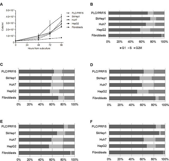 HepG2, Huh7, SkHep1 and PLC/PRF/5 cells proliferate faster than non-tumoral fibroblasts.