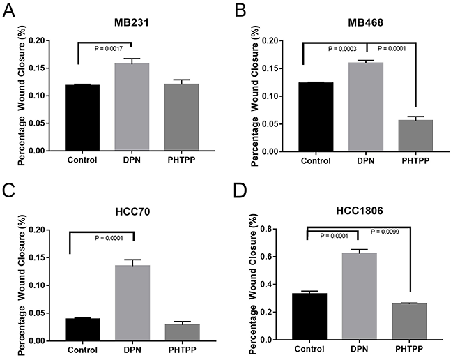 Activation of ERβ increases migration of TNBC cells.