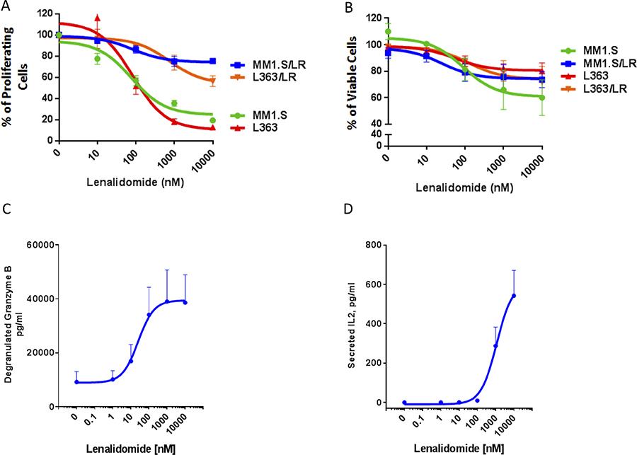 Lenalidomide enhances PBMC-mediated killing of both lenalidomide-sensitive and lenalidomide-resistant MM cells.