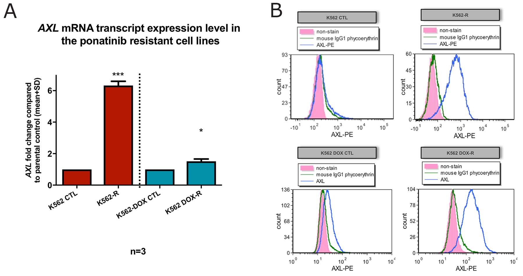 K562-R and K562 DOX-R cell lines demonstrated increased expression of the pro-adhesion protein Axl.