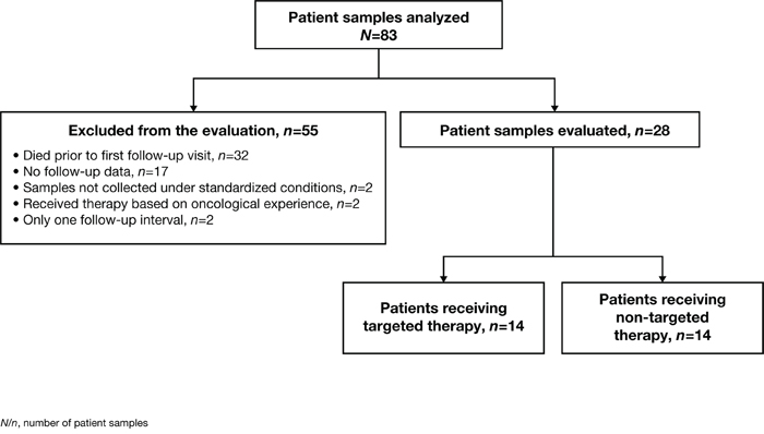 Overview of all 83 patients whose tissue samples were analyzed and the applied selection criteria.