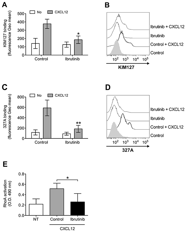 BTK mediates LFA-1 affinity upregulation and RhoA activation by CXCL12 in CLL B-lymphocytes.