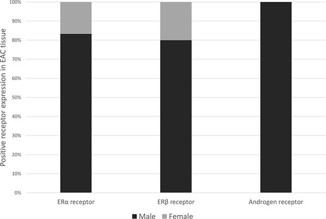 Bar chart showing sex distribution (%) among esophageal adenocarcinoma patients who scored positively for ERα (n = 6), ERβ (n = 43) or AR (n = 4) expression.