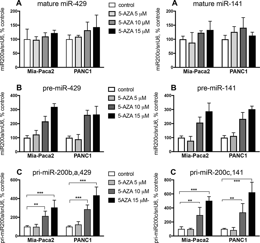 Effect of 5-AZA on miR-200 expression level in Mia-Paca2 and PANC1 cells.