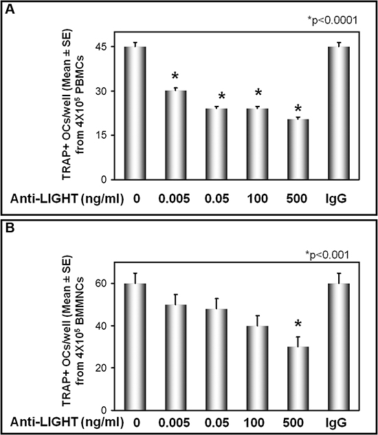 Anti-LIGHT mAb inhibits the osteoclast formation in cultures from MM-bone disease.